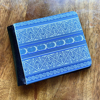 Mens Blue & White Hmong Batik Wallet