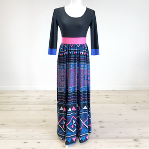 Women's Black w/ Pink Band Printed Hmong Maxi Dress
