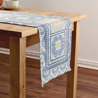 Blue & Beige Hmong Table Runner with Elephant Foot Print Motif Pattern