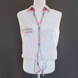 White Chiffon Hmong Button Blouse Shirt