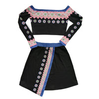 Off Shoulder Hmong Printed Crop Top & Skirt Outfit