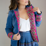 Denim Jean Jacket with Red Hmong Embroidered Detail