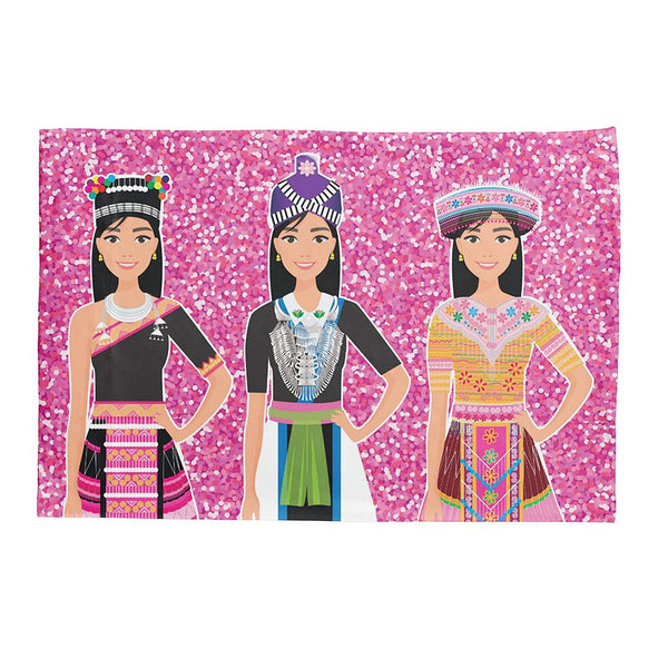 Glittery Pink Hmong Girls Illustration Graphic Teen Pillow Case, Sham