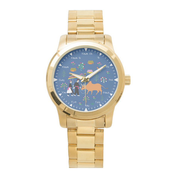 Gold Stainless Steel Watch with Hmong Story Cloth Art
