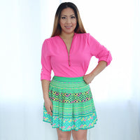 hmong-green-mini-pleated-skirt