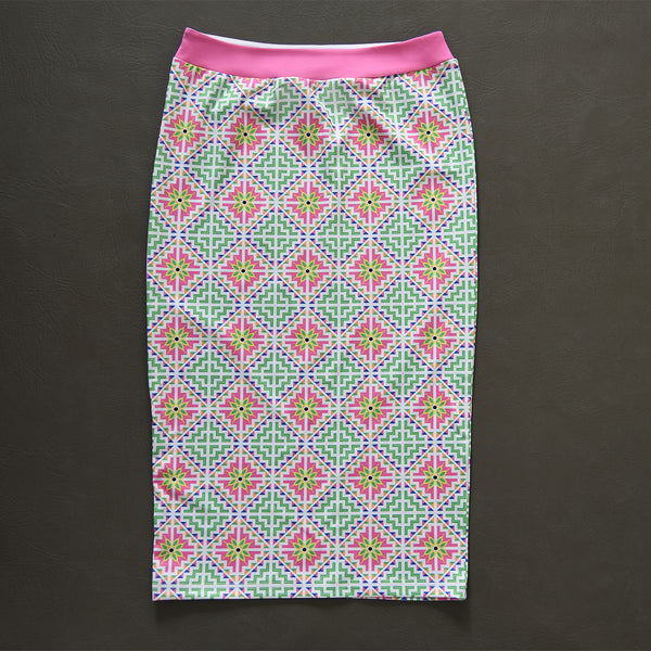 White & Pink Hmong House Motif Pencil Skirt