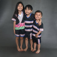 Girls Hmong Trim Designs V-Neck Mesh Sportswear Shirt & Short Set