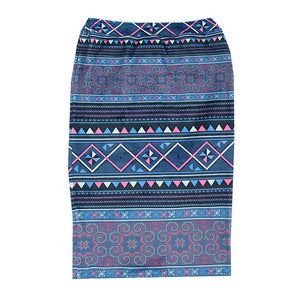 Purple Hmong Printed Velvet Pencil Skirt