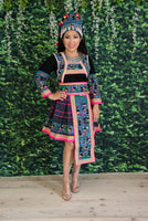 Traditional Hmong Story Cloth 5pc Costume Outfit (Shirt, Skirt, Sev & Hat)