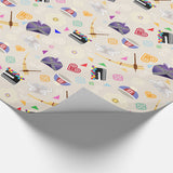 Hmong Confetti Christmas Gift Wrapping Paper - Tan Background