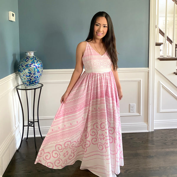 Pink & White Modern Summer Hmong Dress