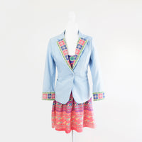Light Blue Blazer Jacket with Blue and Pink Hmong Snail Embroidered Detail