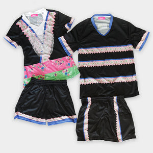 Boys Hmong Trim Designs V-Neck Mesh Sportswear Shirt & Short Set