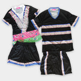 Womens Hmong Trim Designs V-Neck Mesh Sportswear Shirt & Shorts Set