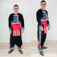 Men's Traditional Hmong Story Cloth 3pc Costume Outfit (Shirt, Pant, Sev)