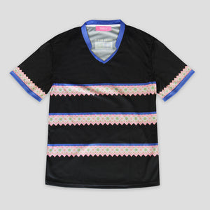 Mens Hmong Trim Designs V-Neck Mesh Sportswear Shirt