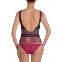 Dark Red Hmong Print Swimsuit