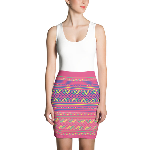 Sleeveless White Top & Pink Hmong Printed Bottom Bodycon Dress