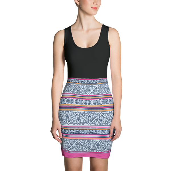 Black & Pink Hmong Batik Printed Bodycon Dress