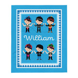 Personalized Hmong Baby Boy Blue Fleece Blanket