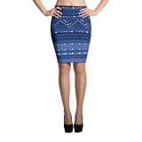 Dark Blue Hmong Printed Pencil Skirt