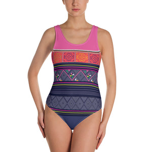 Blue & Pink Hmong Print Swimsuit