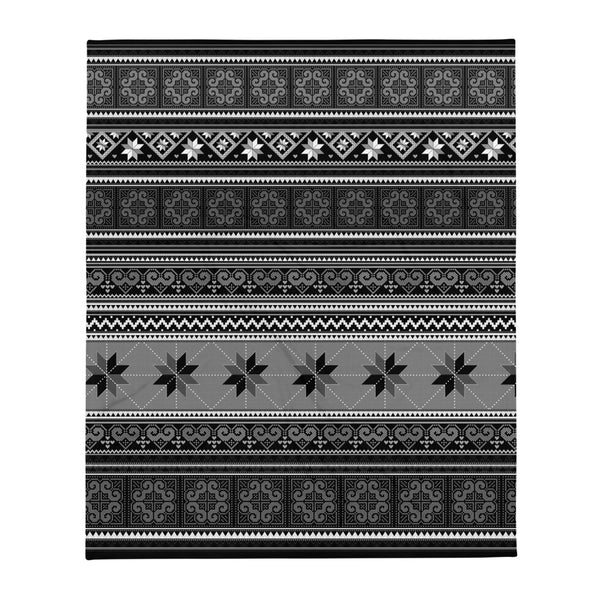 Black & White Fair Isle Hmong Blanket