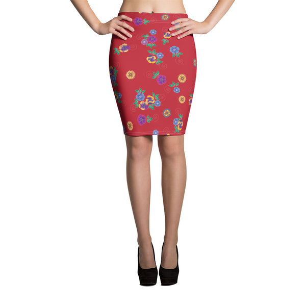 Red Hmong Floral Print Pencil Skirt