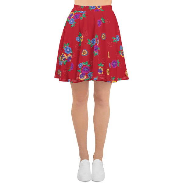 Red Hmong Floral Skater Skirt