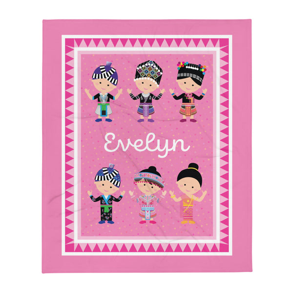 Personalized Hmong Baby Girl Pink Fleece Blanket