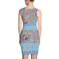 Black & White Floral Stripe with Blue Hmong Trim Sleeveless Dress