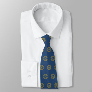 Men's Navy Blue & Gold Hmong Elephant Foot Print Neck Tie