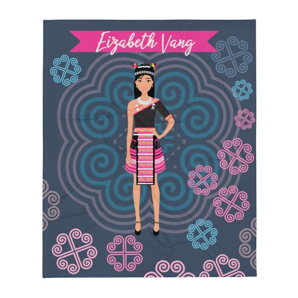 Personalized Teen Girls Hmong Grey & Pink Cozy Fleece Blanket