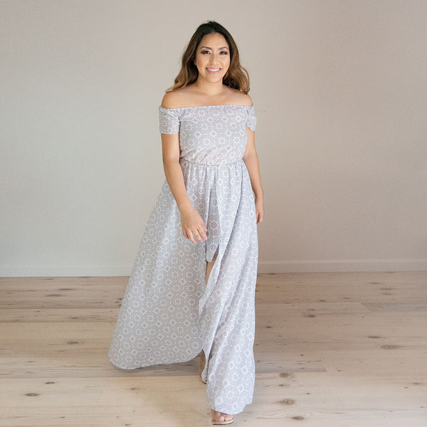 Off White Chiffon Dress with Hmong Elephant Motif