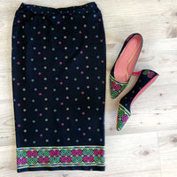 Black Hmong Pencil Skirt with Green & Pink Snail Trim