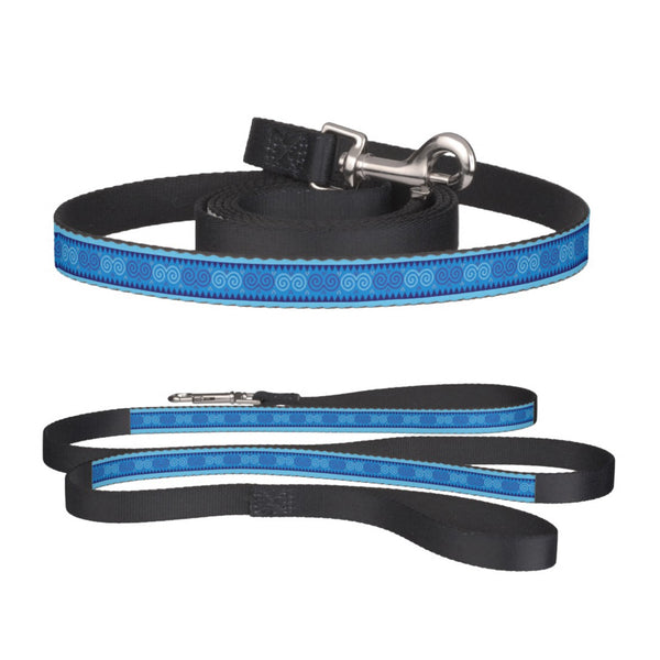 Blue Pet Dog Leash with Hmong Snail Motif Pattern