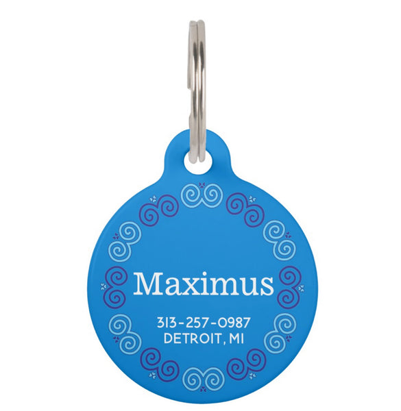 Personalized Dog or Cat Pet ID Tag with Hmong Snail Motif Trim