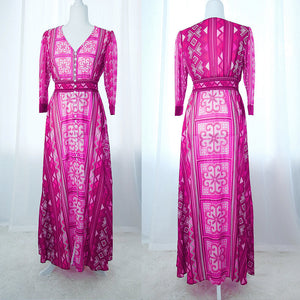 Pink Hmong Flower Print Chiffon Button Up Maxi Dress