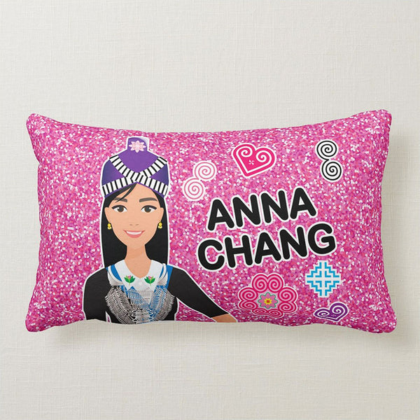 Personalized Glittery Pink Hmong Girls Illustration Graphic Teen Pillow Case, Sham