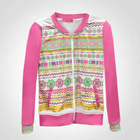 Pink & White Jacket with Hmong Trim Designs