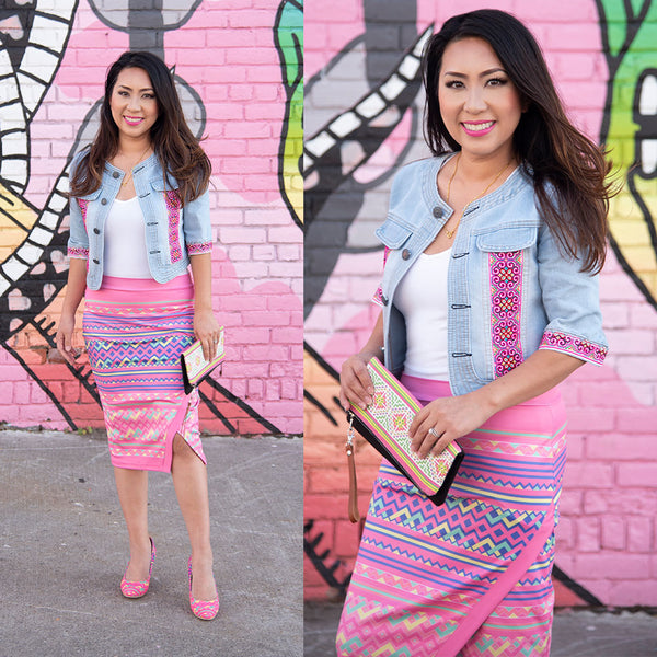 Pink Wrap Pencil Skirt