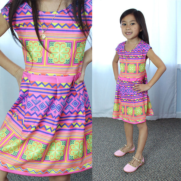 Girls Pink & Yellow Hmong Pattern Cap Sleeve Dress
