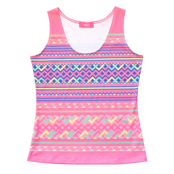 Pink Hmong Printed Pattern Tank Top