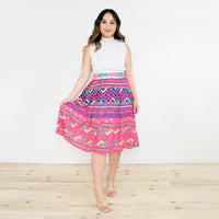 Pink Pleated Skirt with Hmong Snail Print Pattern