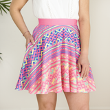 Pink Hmong Printed Pattern Skater Skirt with Pockets