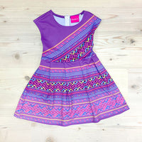 Girls Purple Hmong Pattern Cap Sleeve Dress