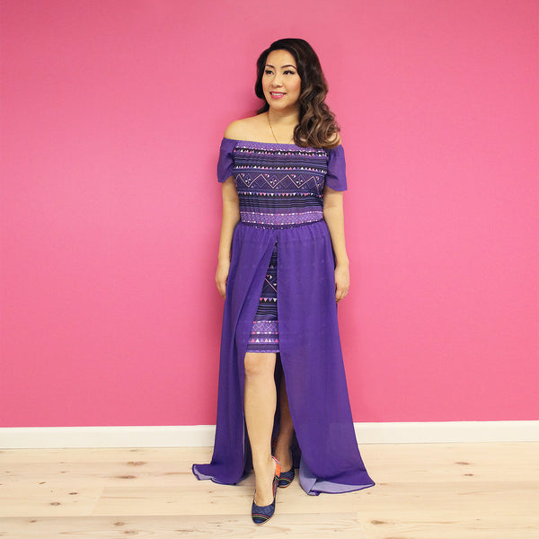 Purple Off Shoulder Chiffon Dress with Geometric Hmong Print