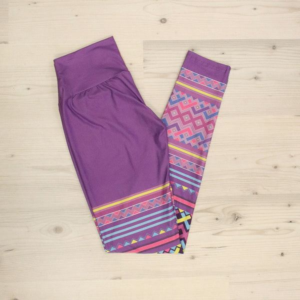 Purple Hmong Velour Yoga Leggings