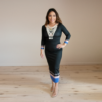 Quarter Sleeve Black Bodycon Dress w/ Blue Hmong Trim