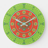 Hmong Round Wall Clock - Red & Green